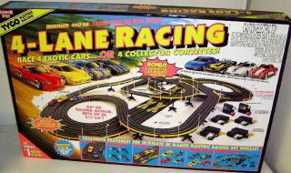 Hot Wheels 4 Lane HO Scale Slot Car Race Track Set With 4 Cars 36693