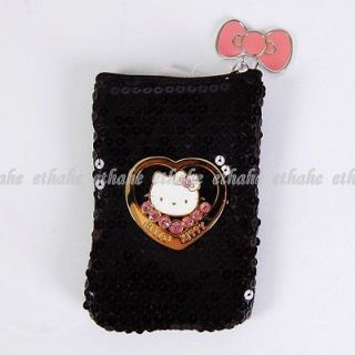 Hello Kitty Cute Shiny Sequins Mobile Cell Phone Bag Pouch Coin Purse