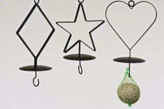 Tree Hanging Bird Feeder ideal for fat balls. Diamond, Star or Heart