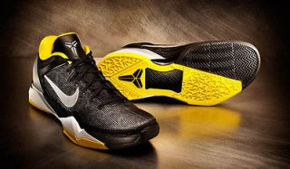 NIKE MENS ZOOM KOBE VII SUPREME BASKETBALL SHOES BLACK/YELLOW 7, 7.5