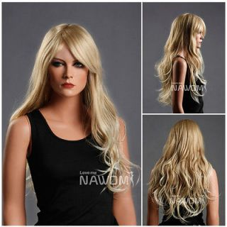 Female Glamorous Gold Long Wave Wig Mannequin Head Hair #WG ZL174