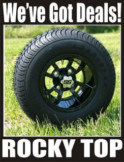 10x7 Black Storm Trooper Golf Cart Wheels and Street Profile Tires