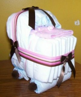 BASSINET DIAPER CAKE/BABY SHOWER GIFT/PINK/BROW​N STRIPE