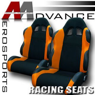 2x LH+RH Black/Orange Fabric & PVC Leather Reclinable Racing Seats