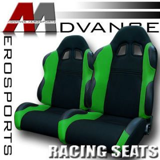 2x Universal LH+RH Blk/Green Fabric & PVC Leather Sport Racing Seats