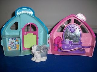 FISHER PRICE LITTLE PEOPLE PINK & BLUE DOG GROOMERS HOUSE SALON SHEEP
