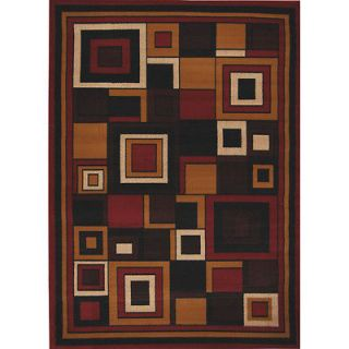 Red Modern Geometric Area Rug 5x8 Contemporary Carpet   Actual 5 3 x