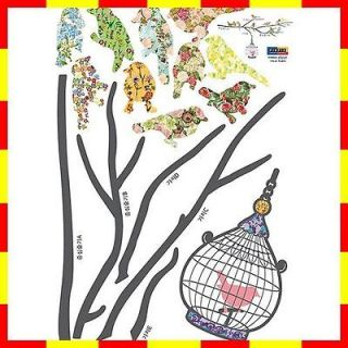 073 BIRD & CAGE Wall Paper Decal Deco Mural Sticker ★★