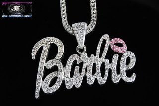 Pre Sale Nicki Minaj 3 Necklace Barbie Silver/Clear with Pink Lips