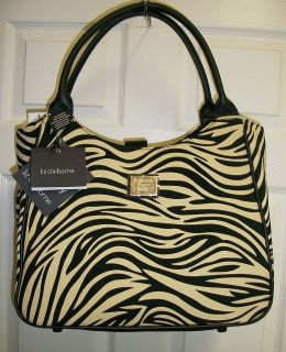 LIZ CLAIBORNE ZEBRA STRIPE BLACK & CREAM LUGGAGE TOTE HAND BAG PURSE