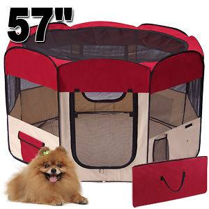 57 2 DOOR PET PUPPY DOG PLAYPEN EXERCISE KENNEL MAROON
