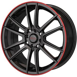16x7 Black Red Wheel Akita AK77 5x105 5x112