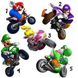 SUPER MARIO BROS STICKER WALL DECO YOSHI PEACH WALUIGI MOTOR BIKES