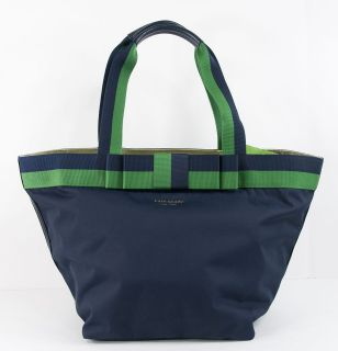 SPADE BARROW STREET ANABEL NYLON LEATHER NAVY GREEN PURSE BAG PXRU2943