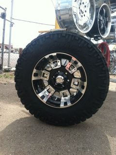 18 BLACK RIMS TIRES 6X139 CHEVY GMC TITAN SIERRA 275 70 18 NITTO