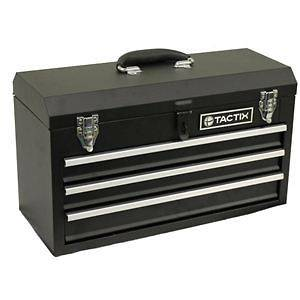 TACTIX 321102 3 Drawer Steel Tool Box Portable Storage