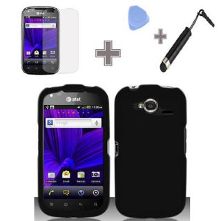 Pantech Burst P9070 AT&T Rubberized Solid Black Hard Case Cover+Screen