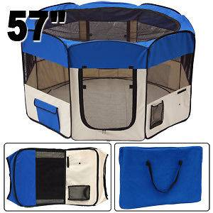 XL 2 Door Soft Pet Playpen Dog Puppy Exercise Crate Pen Kennel Blue