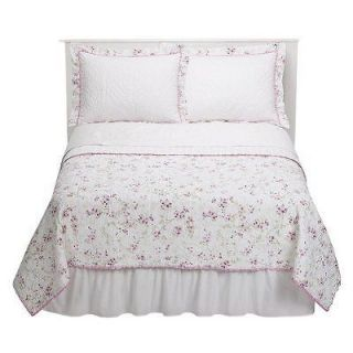 SIMPLY SHABBY CHIC RACHEL ASHWELL CHERRY BLOSSOM TWIN QUILT SET 2PC