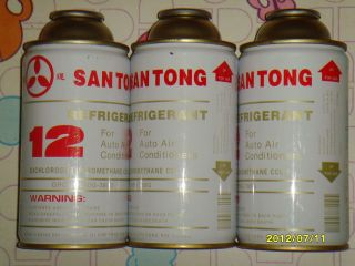 12 AIR CONDITIONING R12 REFRIGERANT 3 CANS OF SANTONG