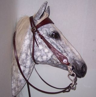 TOOLED COWBOY HORSE BRIDLE HEADSTALL & REINS SILVER CONCHOS Dark