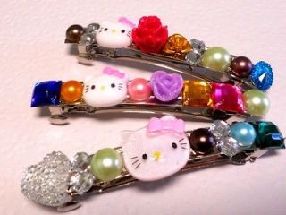 Wholesale Lot of 3 Hello Kitty Rhinestone Flower Hair Clip Barrette