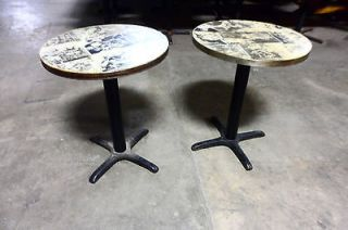LOT OF 2 HEAVY DUTY COMMERCIAL GRADE COCKTAIL TABLES WITH CAST IRON
