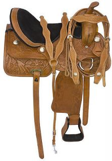 Made 15 Hand Carved Pleasure Barrel Saddlery Pro Horse Saddle Tack