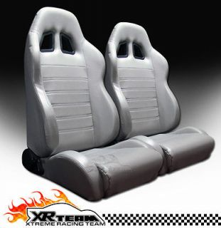 2x Universal SP Style PVC Leather Grey Racing Bucket Seats+Sliders New