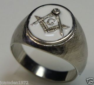 Freemasonry Masonic White Enamel Mens Ring 318 Stainless Steel size 15