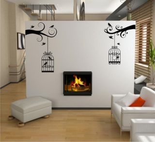 TWIN BIRD CAGE WALL DECAL VINYL WALL STICKER #BC2