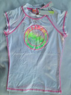 Womens BILLABONG Board Surf Shirt UPF 50 neon pink green yellow white