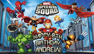 SHEET SUPER HERO SQUAD Edible CAKE Image Topper