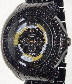 DIAMONDS ICED OUT HIP HOP LIL WAYNE BLACK BAND TECHNO KING WATCH 50MM