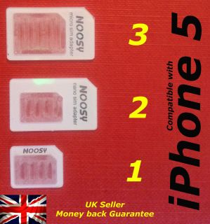 Nano SIM & Micro SIM & Standard SIM card adapters for iphone 5 4S