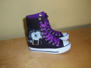 Girls High Top Canvas Sneakers Shoes Black and Purple colorNew