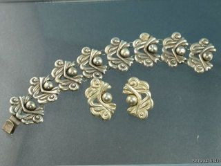 VINTAGE MEXICAN MEXICO 925 STERLING SILVER BRACELET & EARRINGS SET