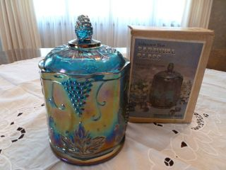 Vintage Indiana Glass Blue Carnival Glass Harvest Grape Candy Jar with