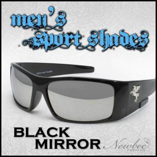 Large Black Mirrored Lens Sunglasses Cool Total Reflective Lens Macho