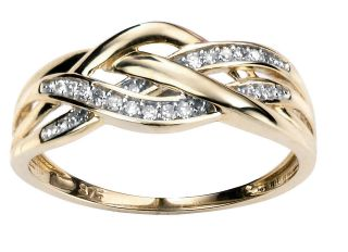 Criss Cross Diamond Ring, 14kt Yellow, .78ct Diamond