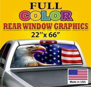 USA Flag /EAGLE Truck/Car Rear 1 Window Graphics Tint Decals Dodge