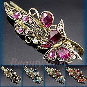 antiqued crystal rhinestone butterfly hair clamp clip