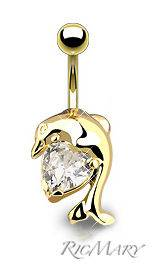Fancy Clear Gem Dolphin Gold Plated Navel Belly Ring 14G+