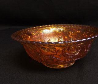 Imperial Open Rose Carnival Glass Footed 7 Bowl Amber / Marigold