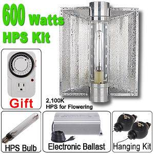 600w HPS Grow Light Kit Air Cool Tube 2 in 1 Reflector 600 Watt