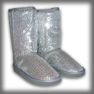Girls Sequined Faux Fur Lined Boots Silver Sequin Comfy Size 10 11 12