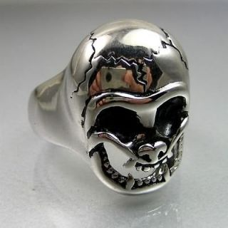 Cool Biker Mens Stainless Steel Baby Face Cracked Skull Ring Size 9.5