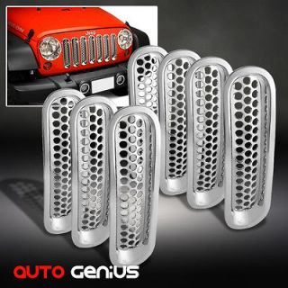 07 12 JEEP WRANGLER CHROME PUNCH ROUND STYLE MESH FRONT GRILLE INSERTS
