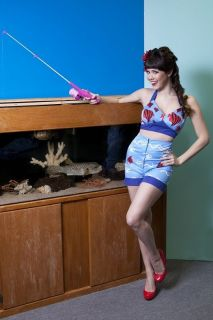 Bettie Page Retro Boardwalk Shorts & Matching Bikini Top, sizes S 3X