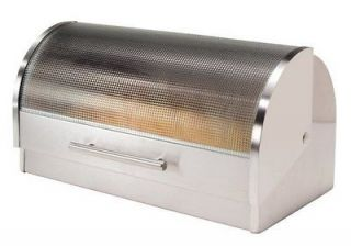 New Oggi Stainless Steel Roll Top Bread Box with Tempered Glass Lid
